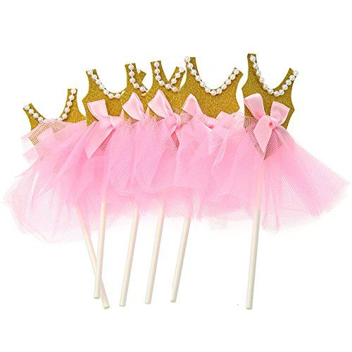 1c89db5b5 Pink And Gold Tutu Cake Toppers Ballerina Dancer Birthday Decoration - Pack  of 6: Amazon.co.uk: Kitchen & Home