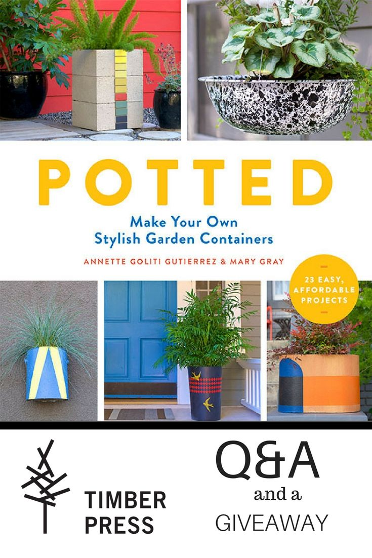 "Q&A and a GIVEAWAY! In their book ,""Potted"", co-authors Annette Goliti Gutierrez and Mary Gray reveal how show-stopping containers can be made from everyday materials such as concrete, plastic, metal, terracotta, rope, driftwood, and fabric. Read on to learn more and enter to win a copy from Timber Press!"