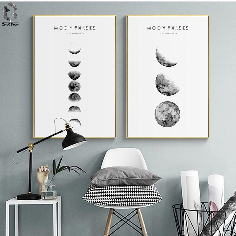 Günstige Mond Phasen Wandkunst Nordic Druck Und Poster, Leinwand Kunst  Gemälde Für Wohnzimmer Dekoration,