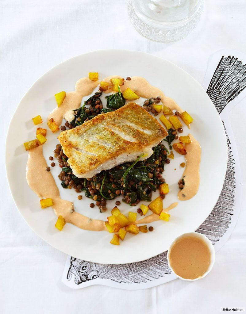 Photo of Cod on spinach lentils