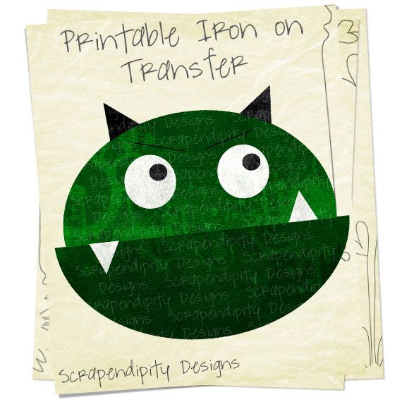 Monster Iron on Transfer Space Iron on by ScrapendipityDesigns