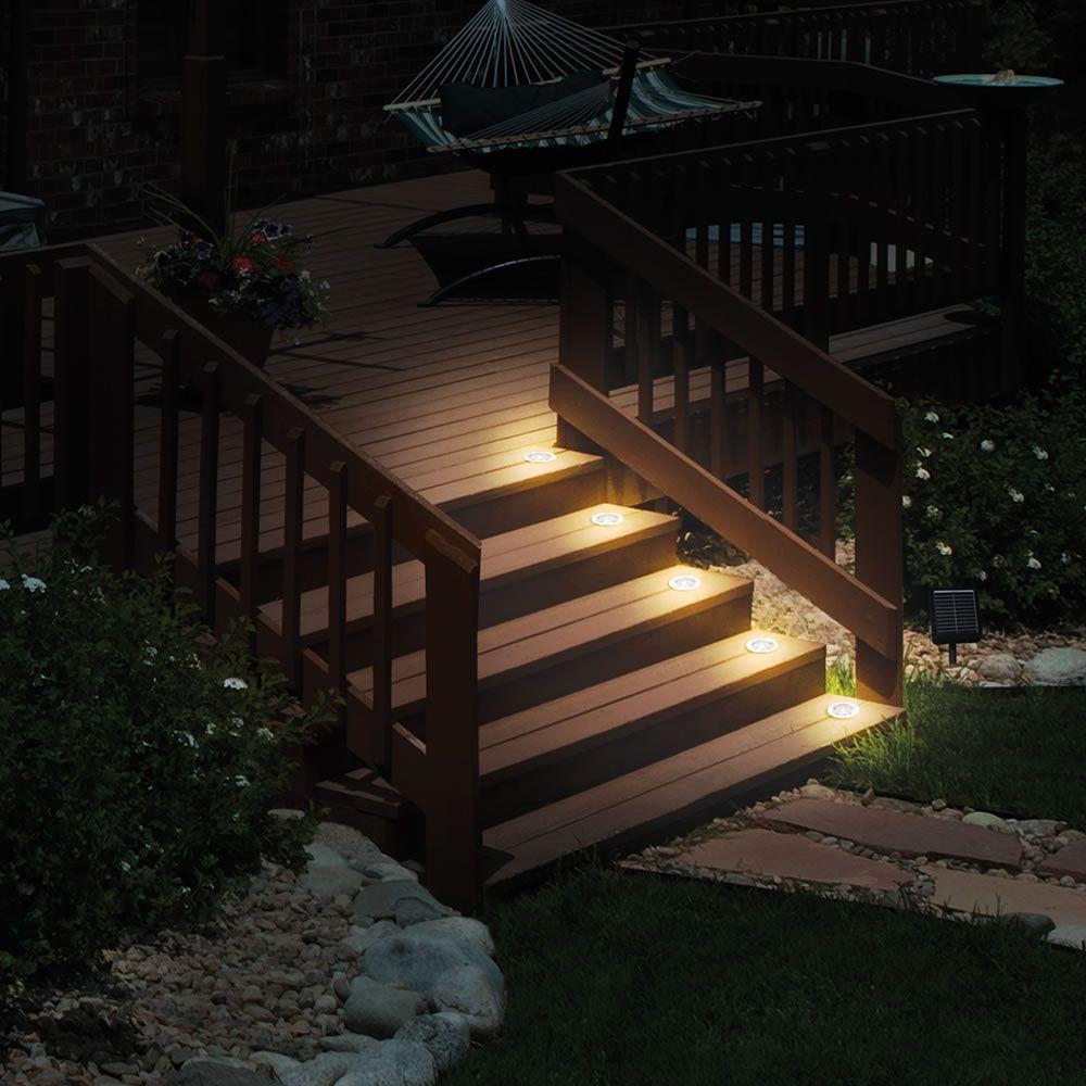 The Flush Mount Solar Stair Lights Garden Chairs Design Stair Lights Backyard Lighting Solar deck lights flush mount