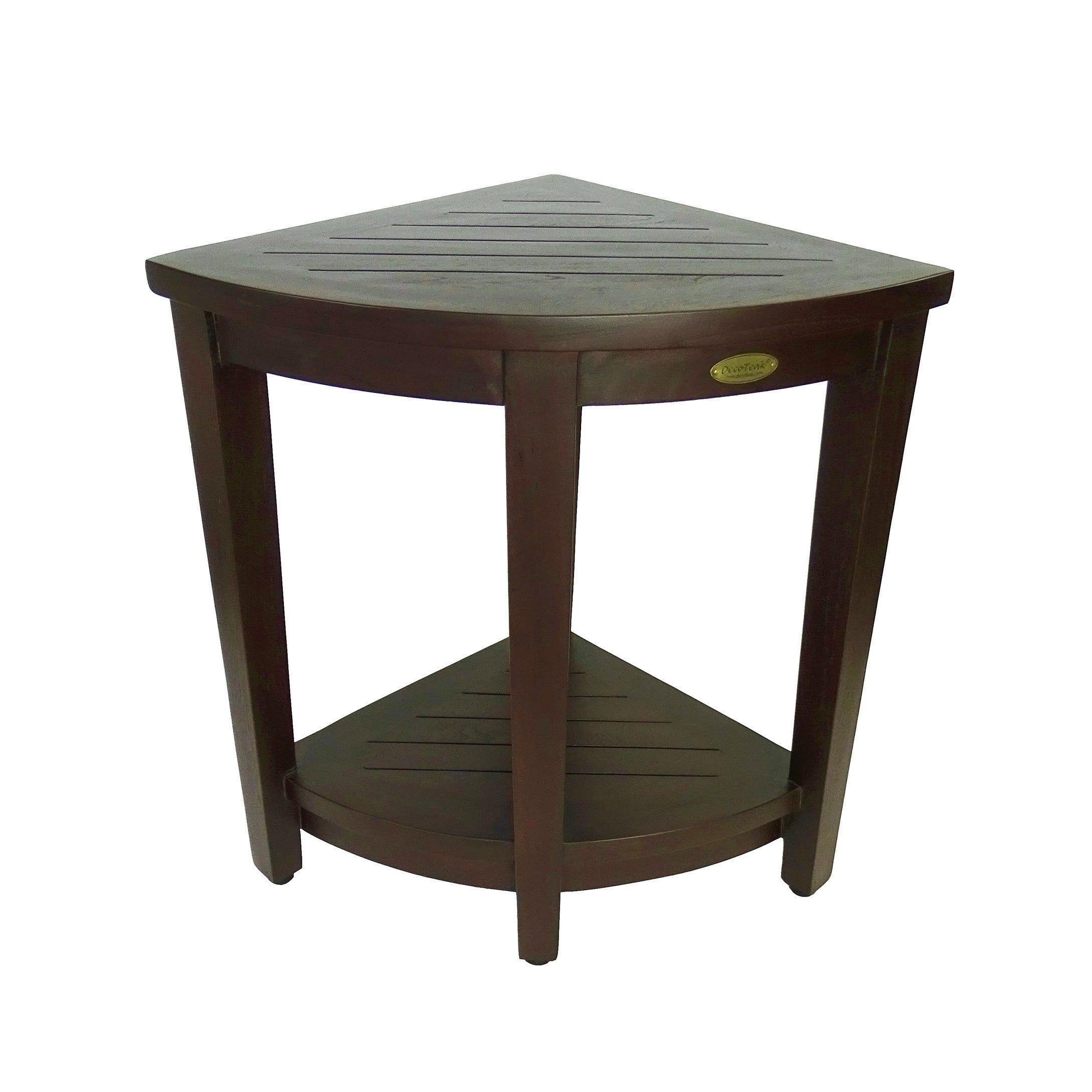 Decoteak Oasis Extended Height Teak Corner Shower Bench With Shelf
