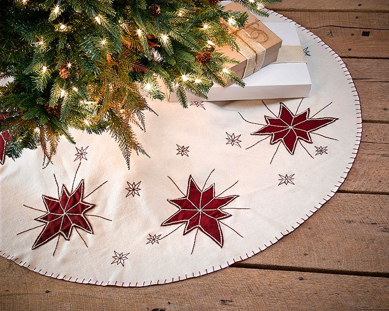 48 North Star Christmas Tree Skirt Embroidered Wine Red Stars And Snowflakes