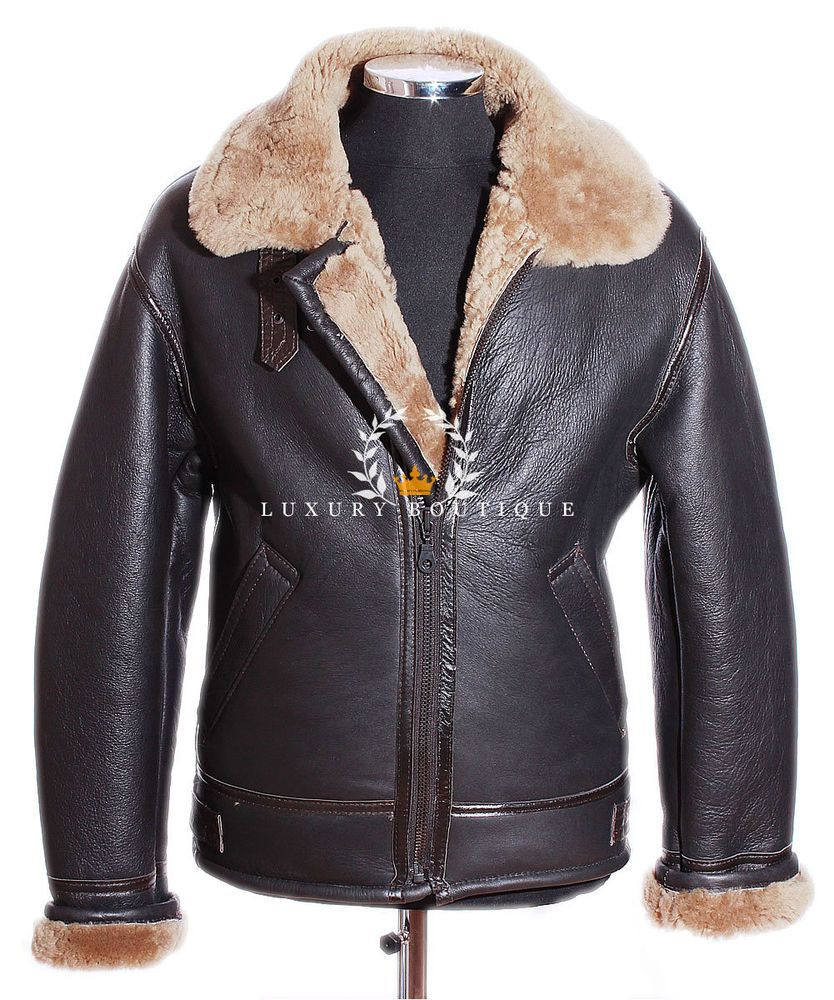B3 shearling sheepskin raf wwii bomber leather flying aviator jacket - Men S Shearling B3 Brown Ginger Sheepskin Raf Ww2 Bomber Leather Flying Jacket Clothes Shoes