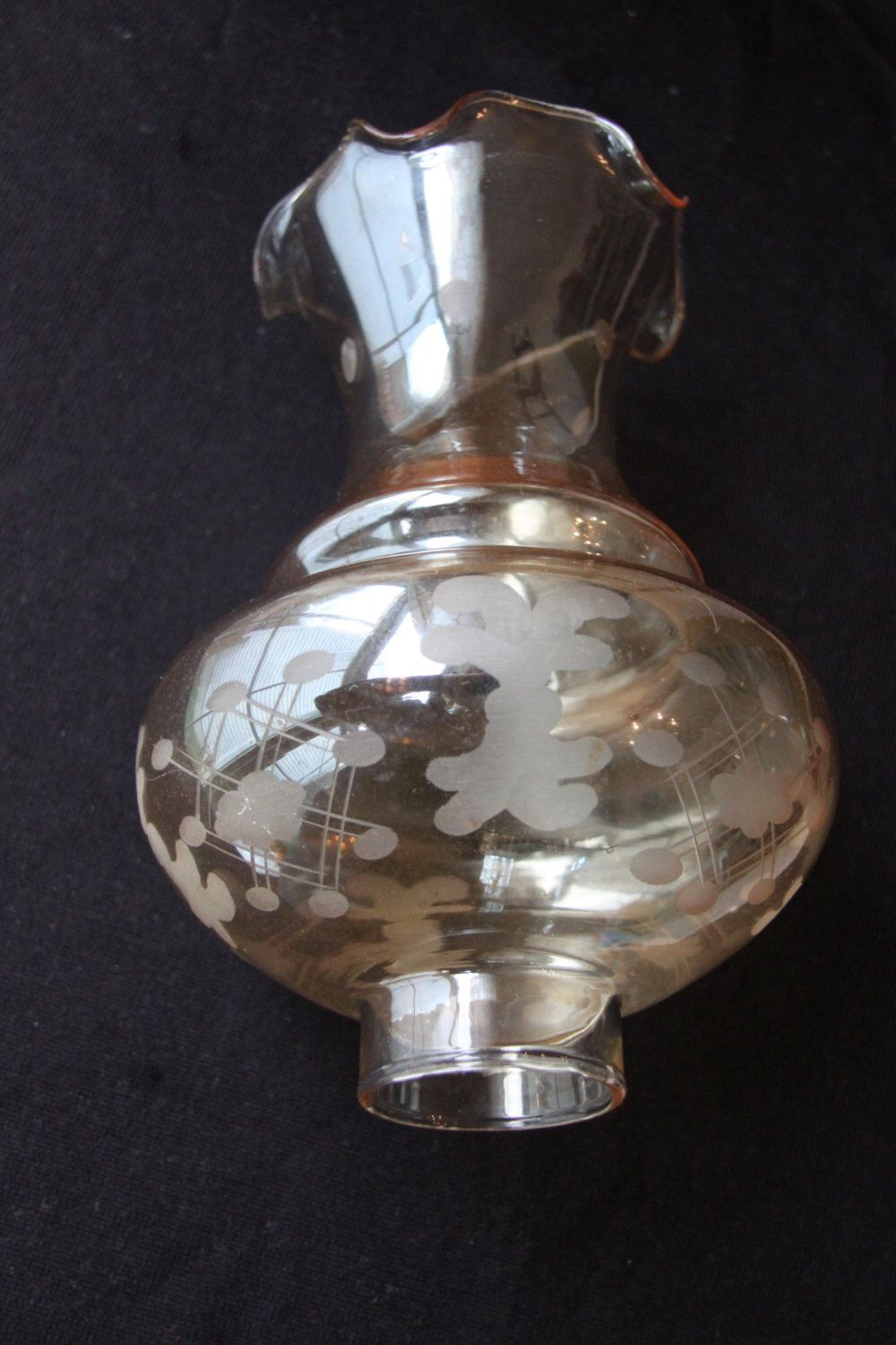 Champagne Colored Etched Oil Lamp Chimney Tinted Glass Etsy Oil Lamps Hurricane Lamp Shade Champagne Color