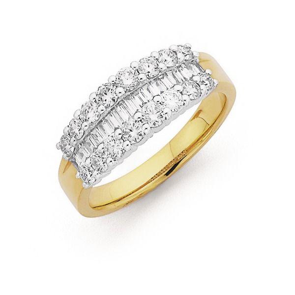 18ct Gold Diamond Round Brilliant Baguette Cut Ring