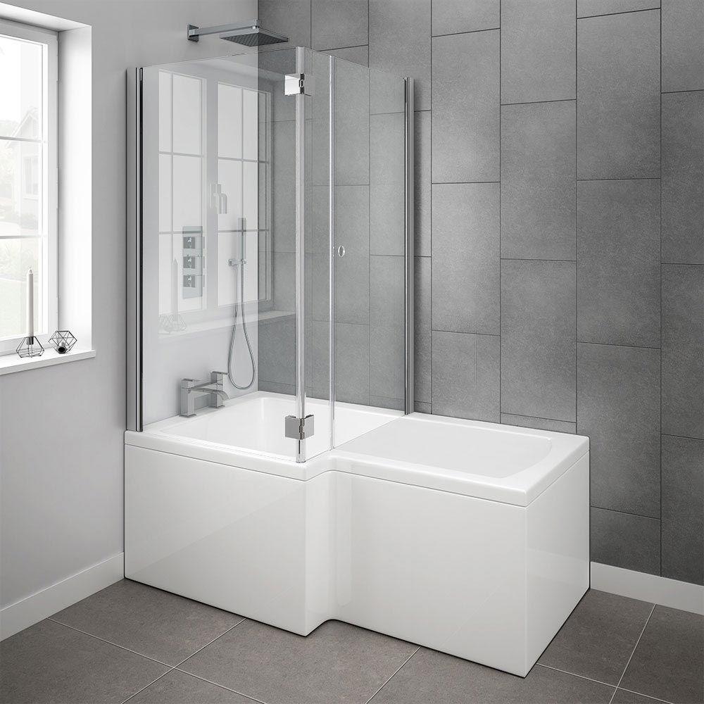 Milan Shower Bath Enclosure - 1700mm L-Shaped Inc. Hinged Screen + ...
