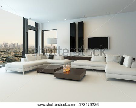 Delicieux Modern White Living Room With Wooden Furniture   Stock Photo