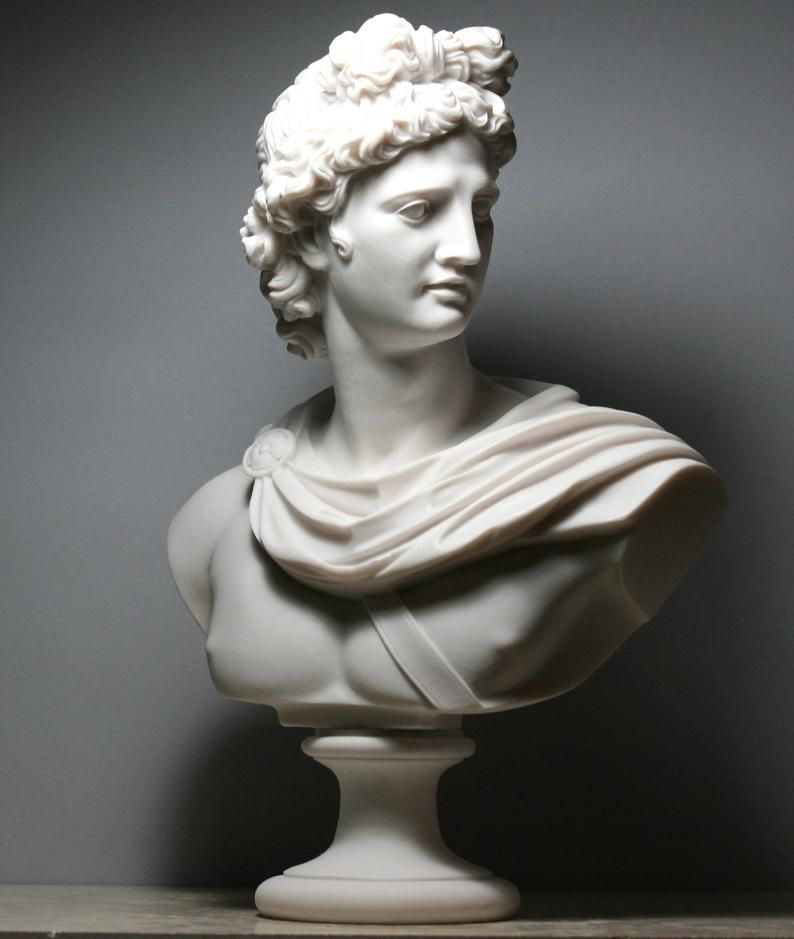 Apollo Greek Roman God Bust Head Statue Cast Marble Sculpture Handmade 12 6in 32 Cm In 2020 Statue Head Statue Marble Sculpture