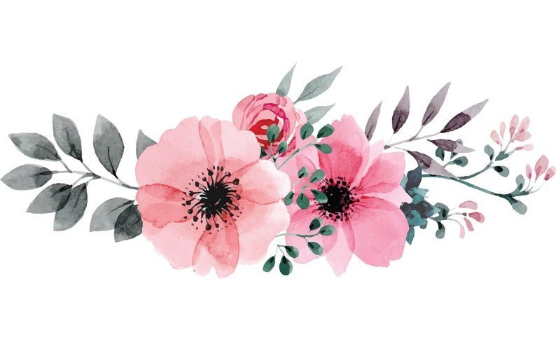 Watercolor Flower Wall Decal Soft Pink Flowers Vinyl Art For
