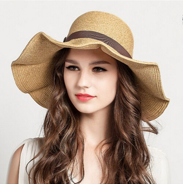 Womens wide brim sun hat for women UV summer straw hat beach wear ... 3bbf32925f5