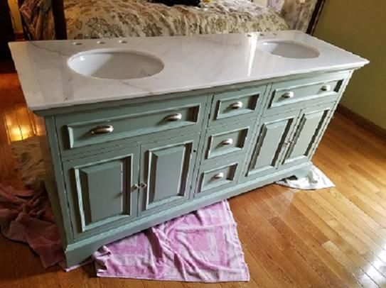 Home Decorators Collection Sadie 67 in. Double Vanity in Antique Light Cyan  with Marble Vanity - Home Decorators Collection Sadie 67 In. Double Vanity In Antique