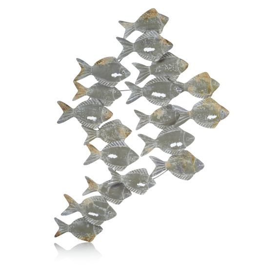 Wanddeko Fische Maritimer Look Metall Vorderansicht Wanddeko