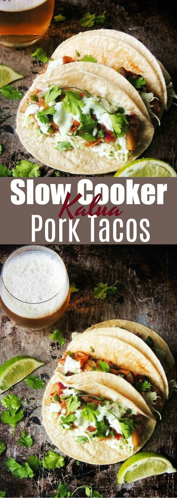 This Slow Cooker Kalua Pork Tacos recipe has Tender juicy pork, in a Hawaiian inspired sauce, wrapped in a warm corn tortilla. Your taste buds will say #hawaiianfoodrecipes