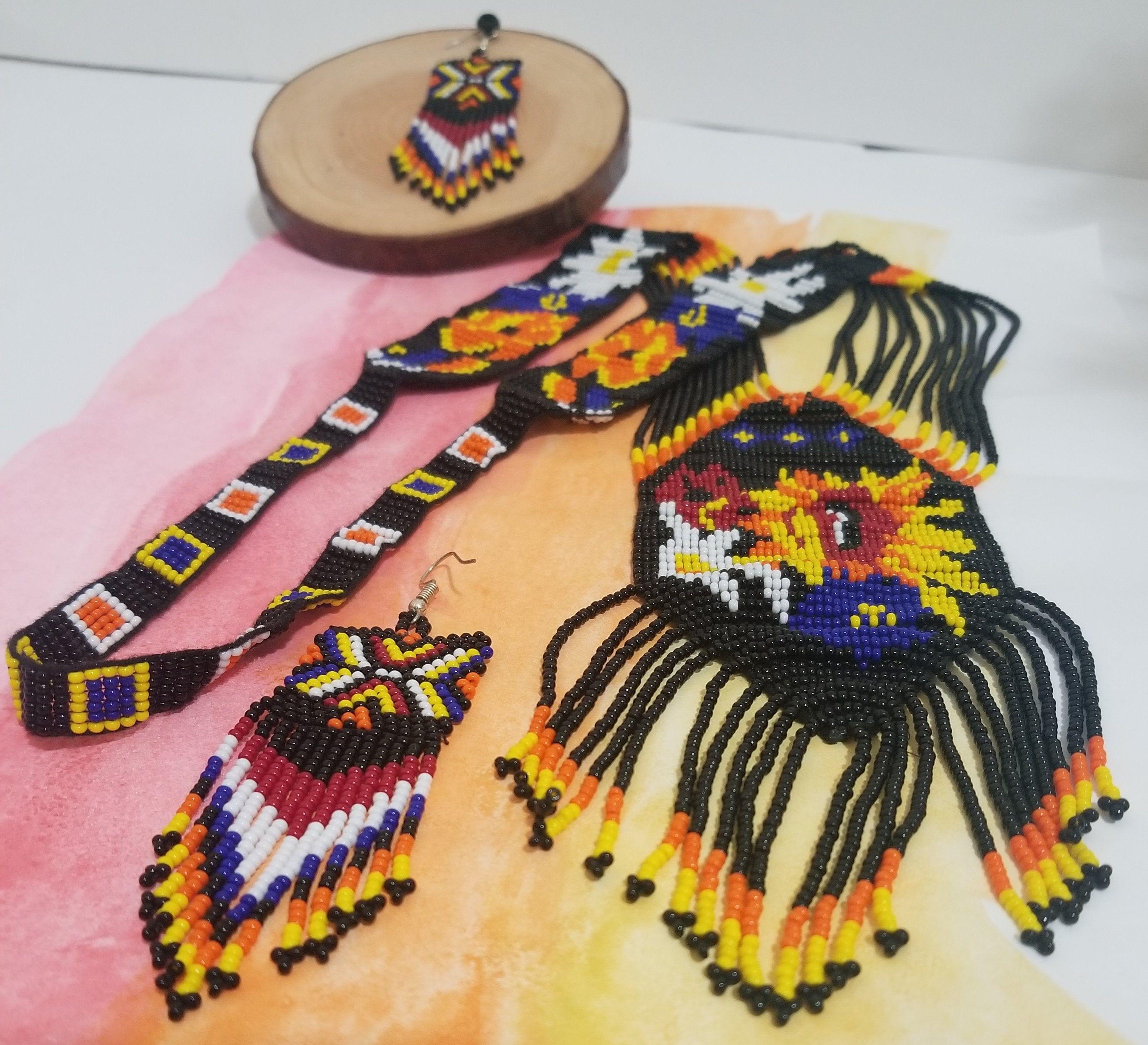 Flowers of black tribal style beaded handmade necklace