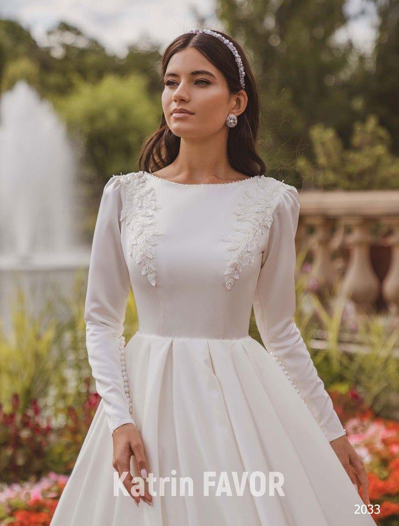 Simple Wedding Dress Modest Wedding Dress Long Sleeve Wedding Etsy Wedding Dresses Satin Long Sleeve Wedding Dress Winter Modest Wedding Dresses [ 1047 x 794 Pixel ]