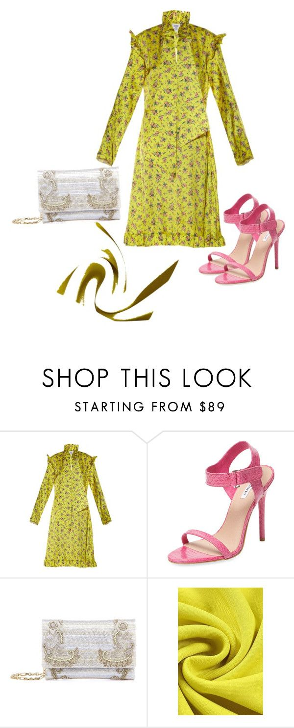 """""""#pink#yellow#gray"""" by perianuramona on Polyvore featuring Vetements, Elorie and Oscar de la Renta"""