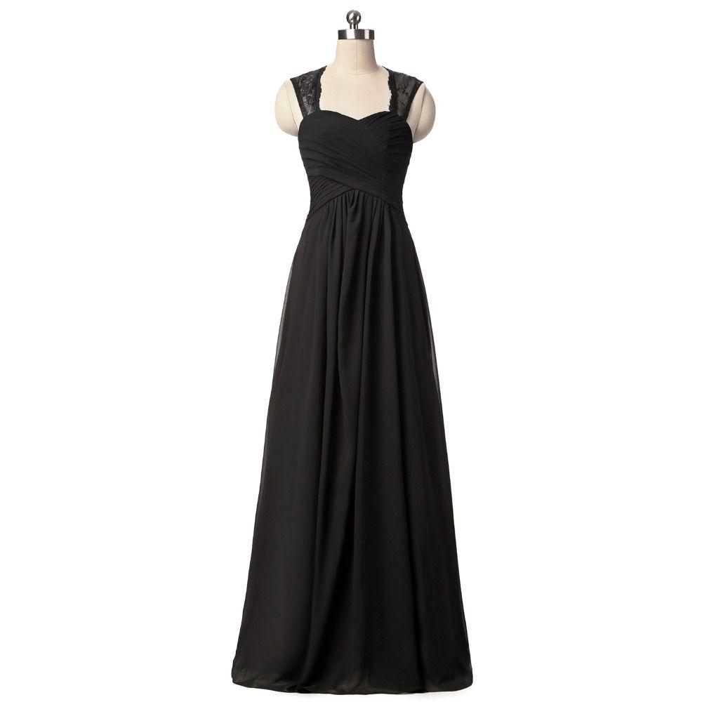 black backless chiffon lace long bridesmaid dresses aline cap