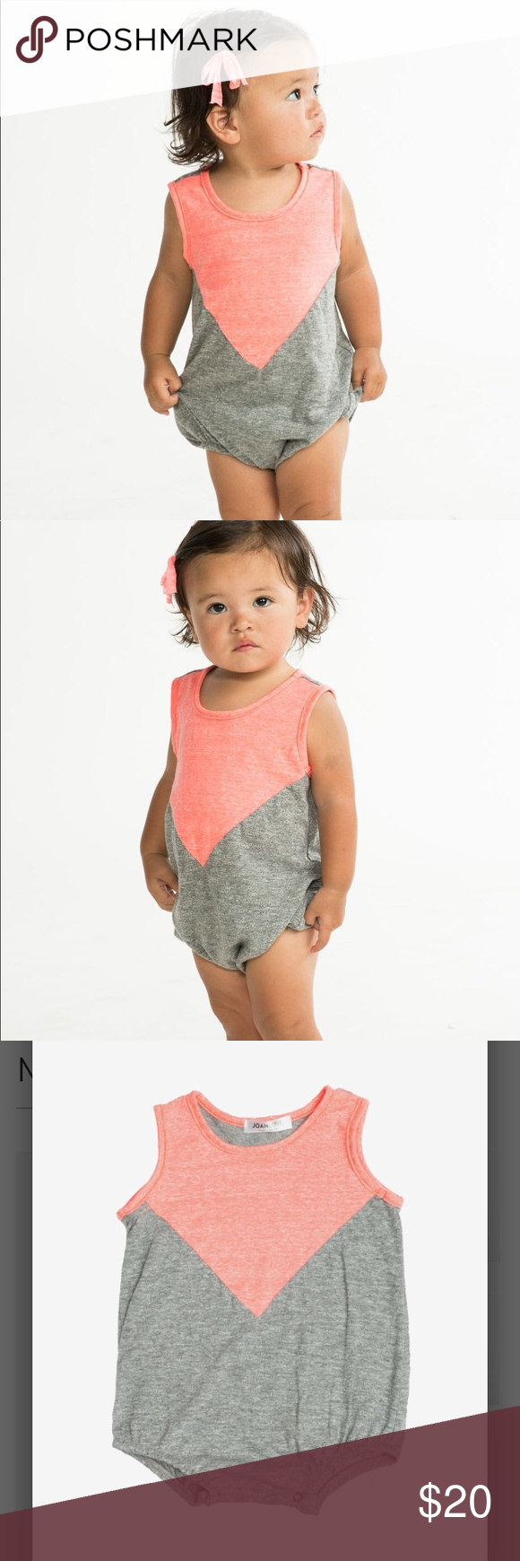 NWT Joah Love Coral and Gray Bodysuit Romper A modern romper in a coral and  grey 3667d8598