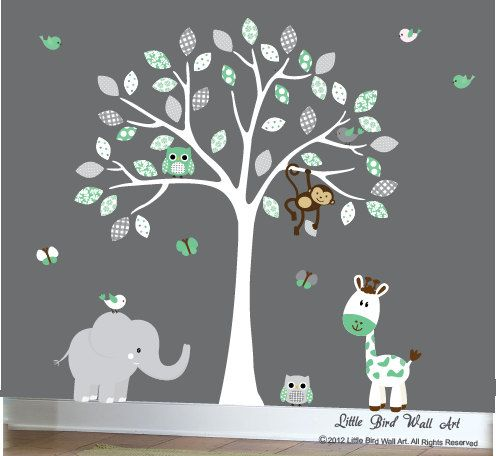 Mint Green And Grey Wall Decal Jungle Tree Set With White Tree