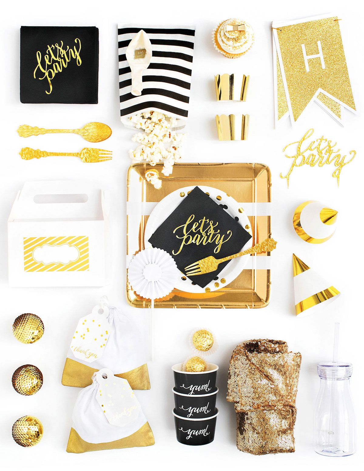 Black White And Gold Party In A Box Black Gold Party Party In A Box Gold Party