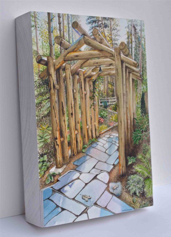 Saugatuck, MI, Pergola  Watercolor paper on poplar wood.