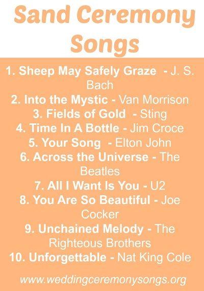 Royal Blue Weddings Top 10 Sand Ceremony Songs