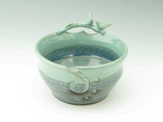Handmade Pottery Yarn Bowl - OOAK Multiple Blues and Greens 7 inch Knitter's Bowl - Decorative Love Birds Crochet Art Bowl - Gift for Mommy