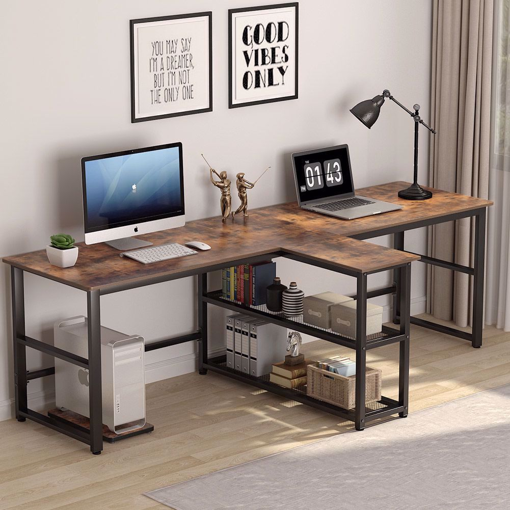 This Double Computer Desk Creates The Perfect Solution For Office Workshop Home And Apartment It Can Be Serve In 2020 Home Desk Home Office Setup Home Office Design