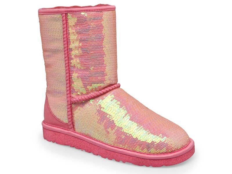 Ugg Australia Classic Short Sparkles Neon Pink Womens Winter Boots