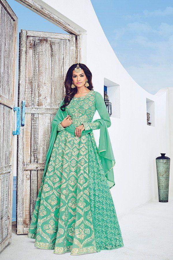 33c605ca69 Sea Green Color Georgette & Brasso Net Fabric Anarkali Suit ...