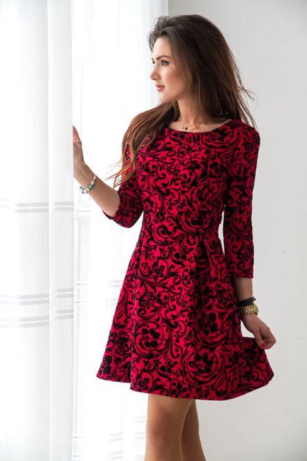 Czerwona Rozkloszowana Sukienka W Welurowe Kwiaty Sklep Internetowy Vubu Pl Floral Fashion Dresses Dress Skirt