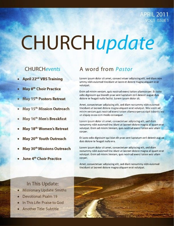 Pathway church newsletter template page 1 church ideas for Free templates for church bulletins