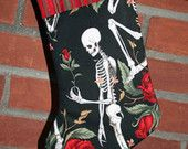 Skeletons and Roses Christmas Stocking