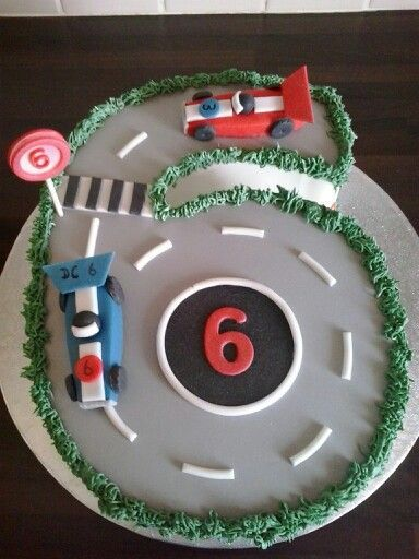 Racing car track cake for 6 year olds birthday Shimon 6 bday
