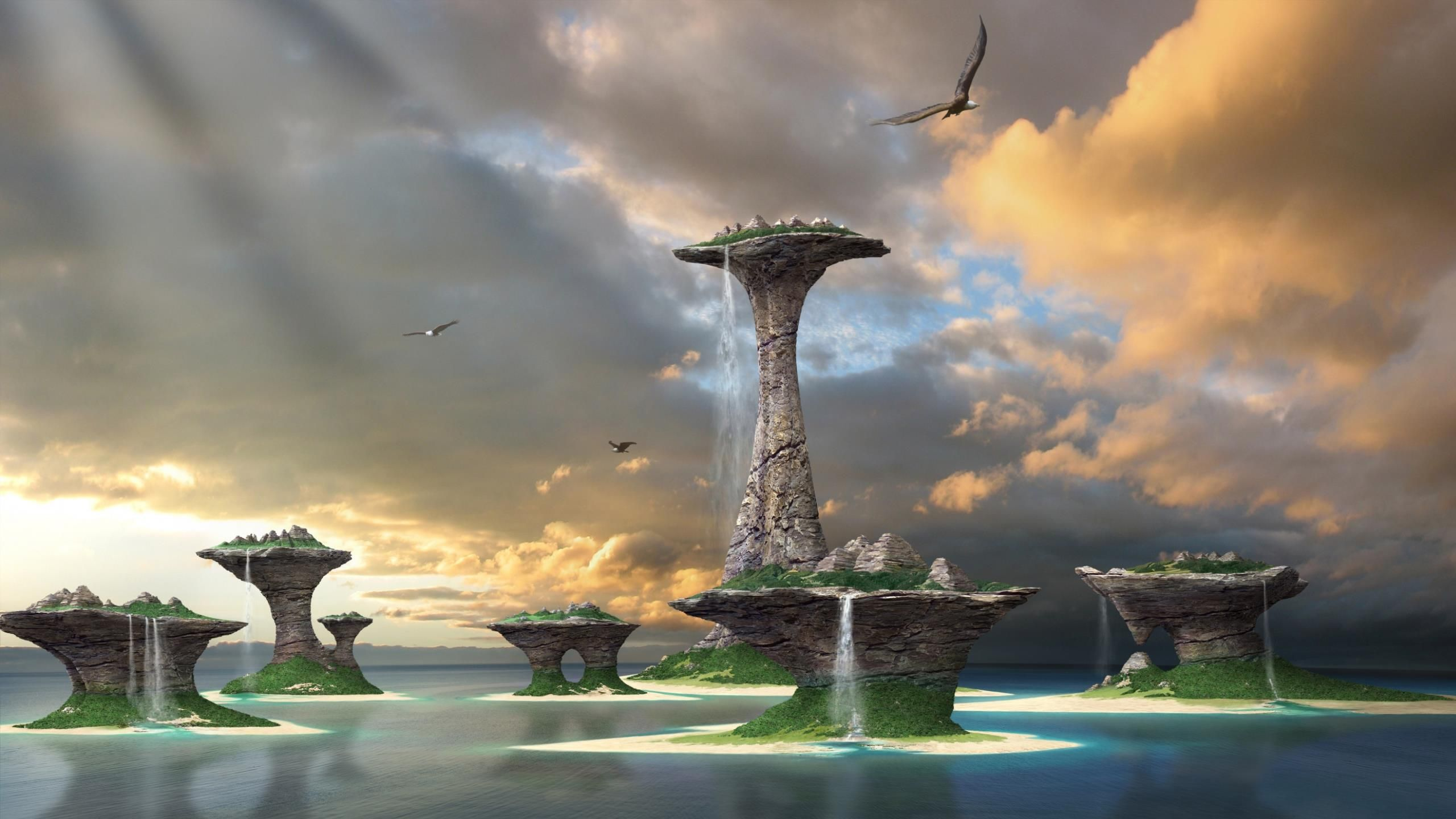 fantasy waterfall World wallpaper, Waterfall wallpaper