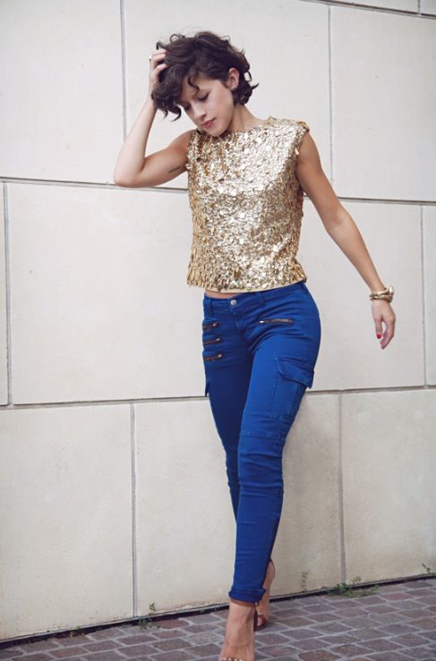Blue jeans and metallic top