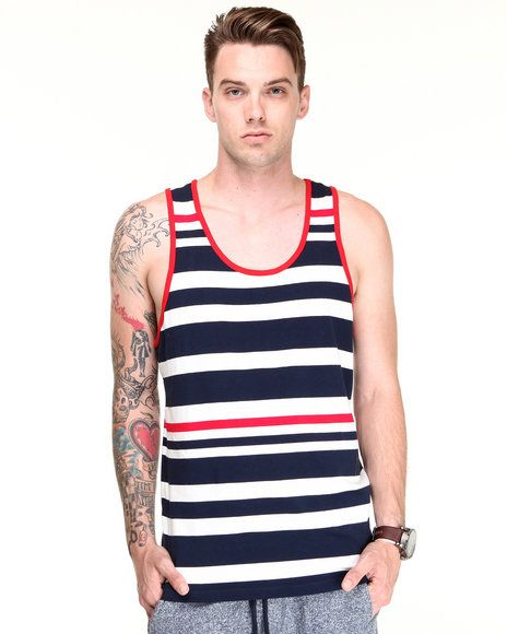 4d0ca24dfae06 Navy Red Multi Stripe Tank by Shades of Grey by Micah Cohen