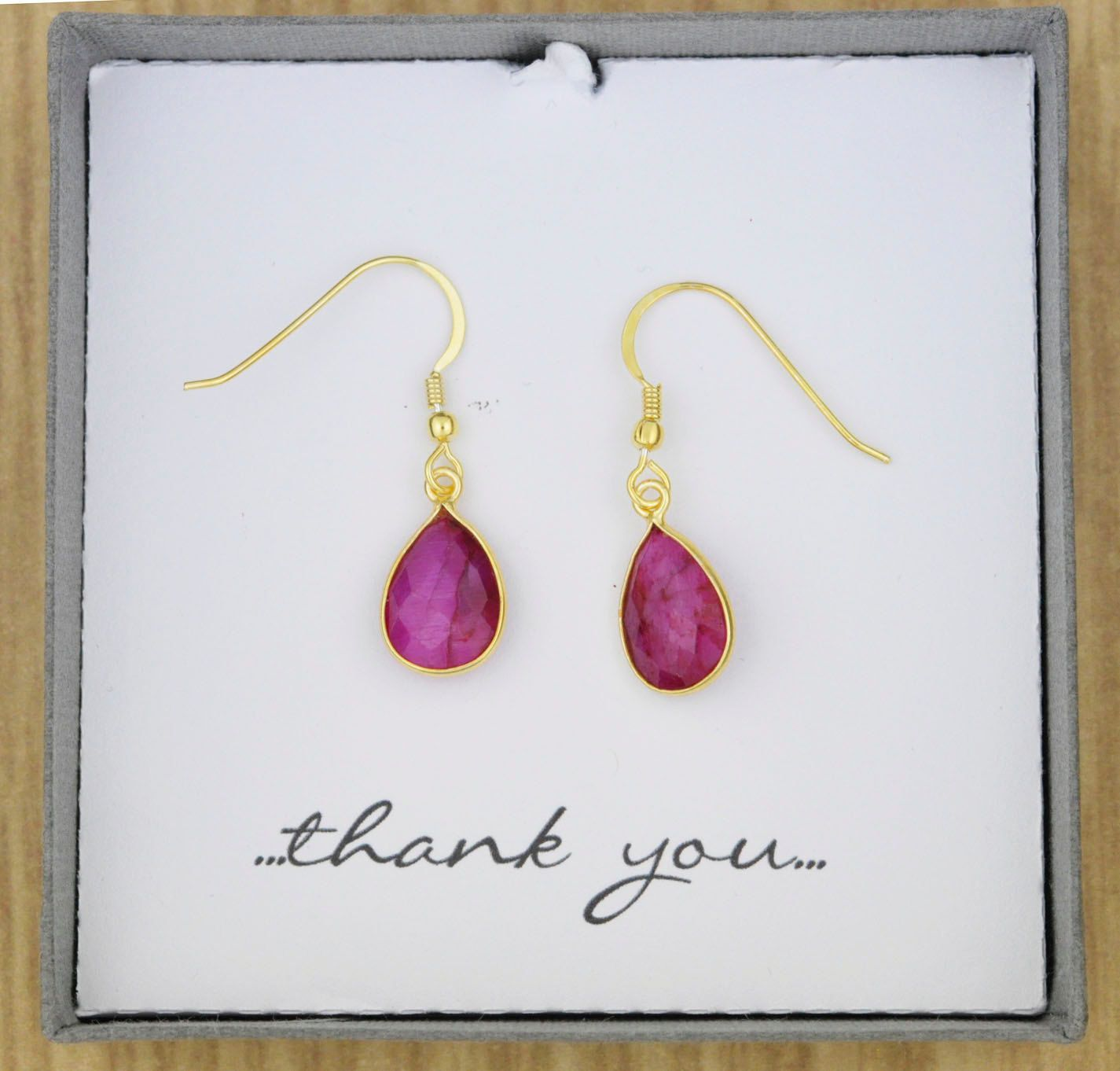Genuine Red Ruby Semiprecious Gemstone Drop Earrings with Sterling Silver Gold Plated - Red, Rose, Pink, Fuschia, Bridesmaid, Wedding Gift by ThePinkLamShop on Etsy