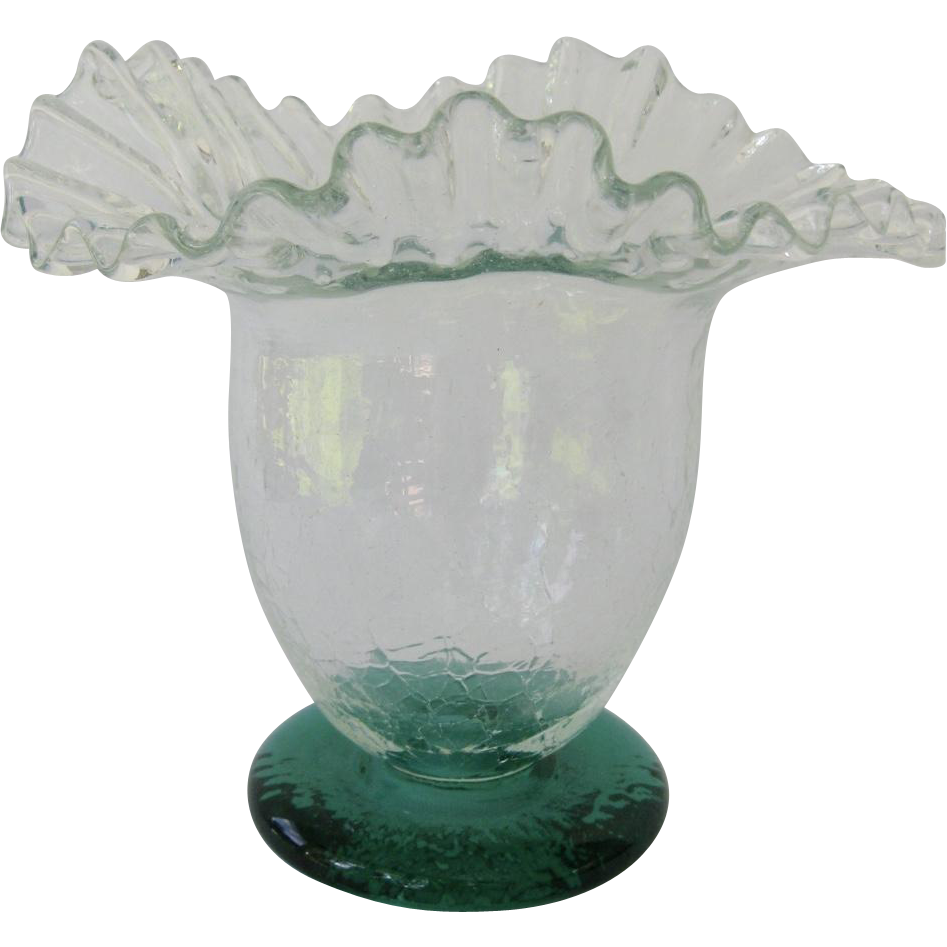 Blenko ruffled rim crackle glass vase with green foot crackle blenko ruffled rim crackle glass vase with green foot reviewsmspy