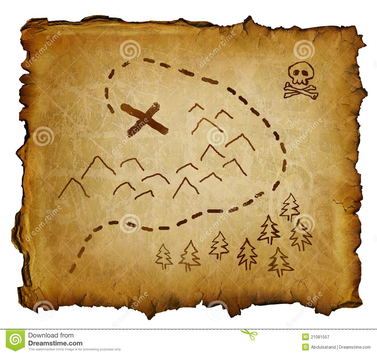 Old Pirate Map | Parchment with treasure map and skull and ...