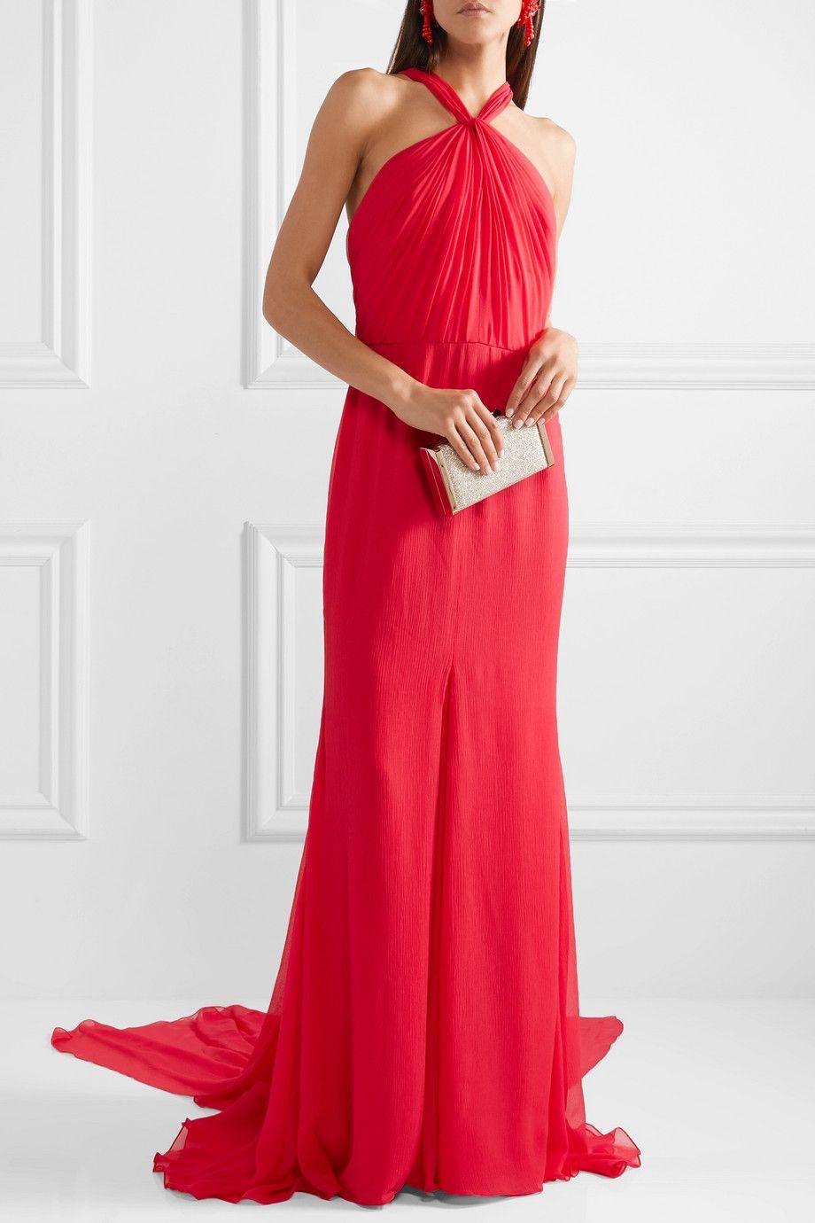 Outlet Largest Supplier Draped Silk-crepon Halterneck Gown - Red Oscar De La Renta Shop For Online Cheap Sale Wiki Discount Clearance Store Sale Get Authentic ZyiLbcC1Q