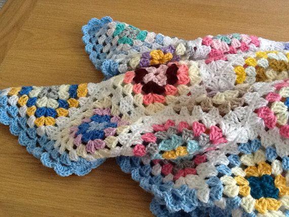 Crochet granny square blanket, see edging, only 36\