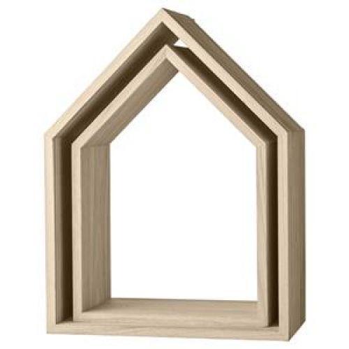 Bloomingville House Shape Display Set: Set of two house shaped display shelves.