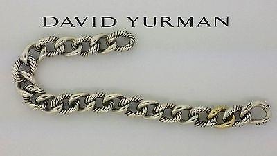 David Yurman Sterling Silver 18k Gold 10mm Belmont Curb Link Bracelet Size 7 75 In Jewelry Watches Fine Bracelets Ebay