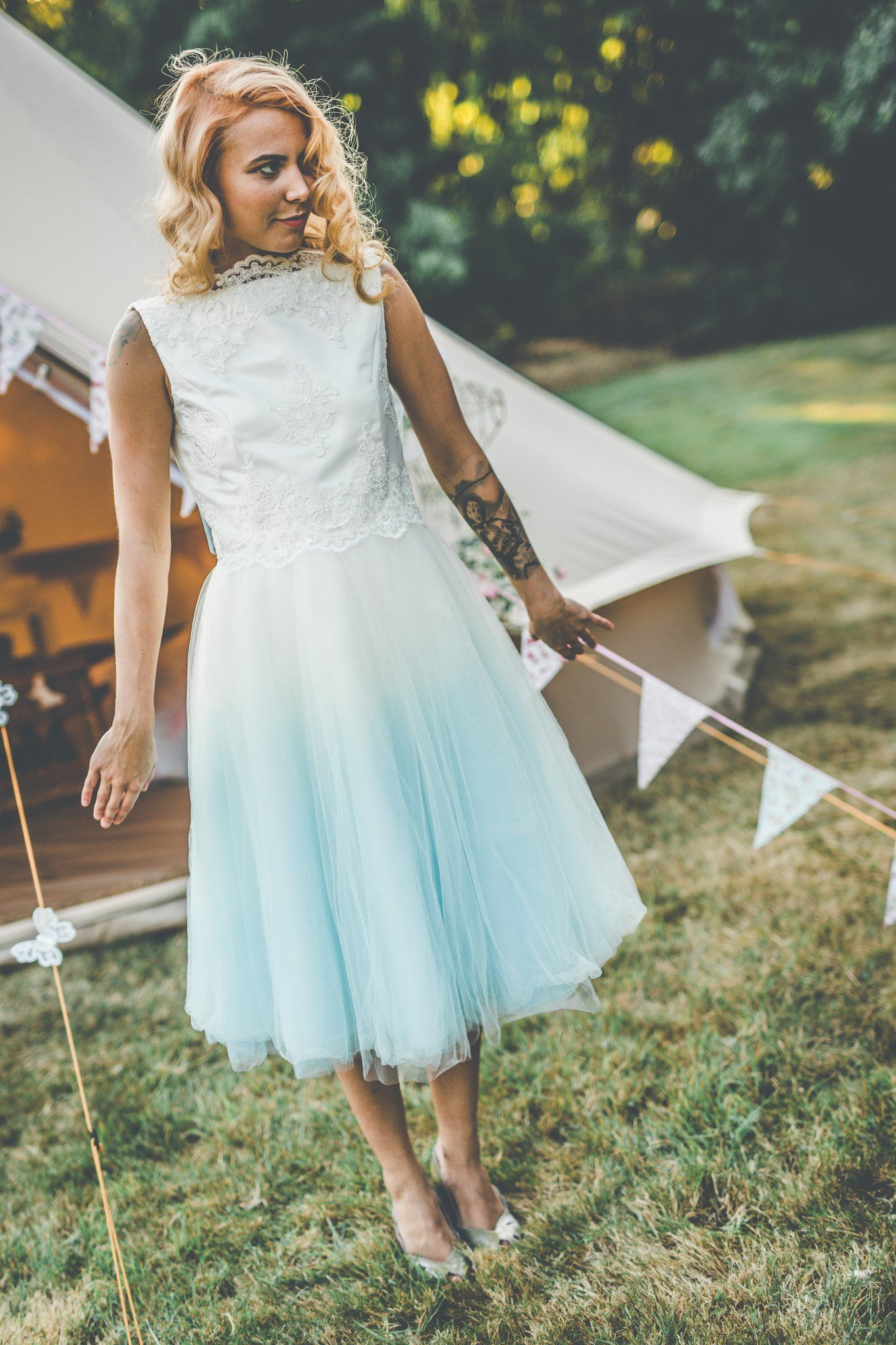 Dip dye 1950s vintage style wedding dress. Unique Dip dyed wedding ...