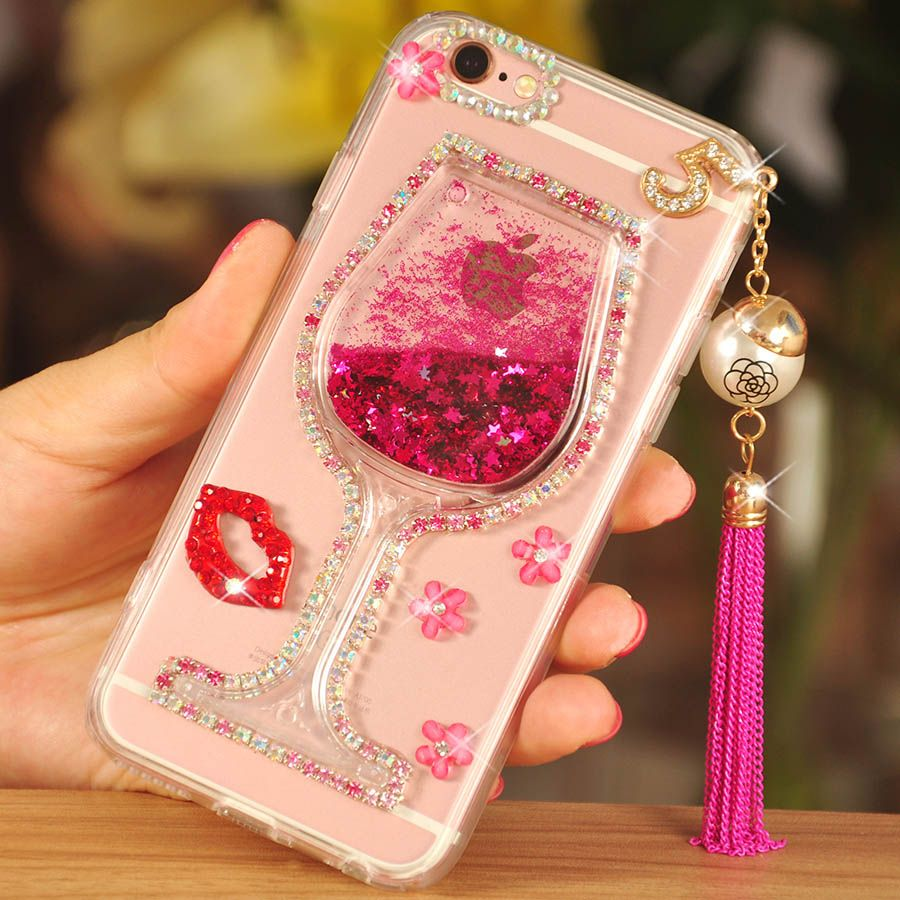 9218b870a7f Luxury Girl Woman Lady Wine Cup Cover+3D Bling Glitter Quicksand Phone Case  For Samsung