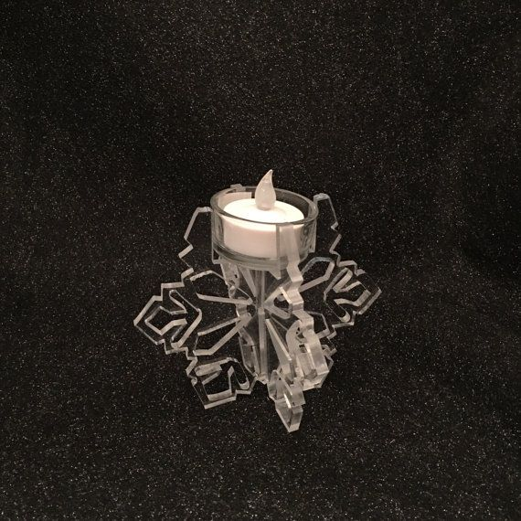 Snowflake Tea Light Battery Powered Candle by SparksPainInTheGlass