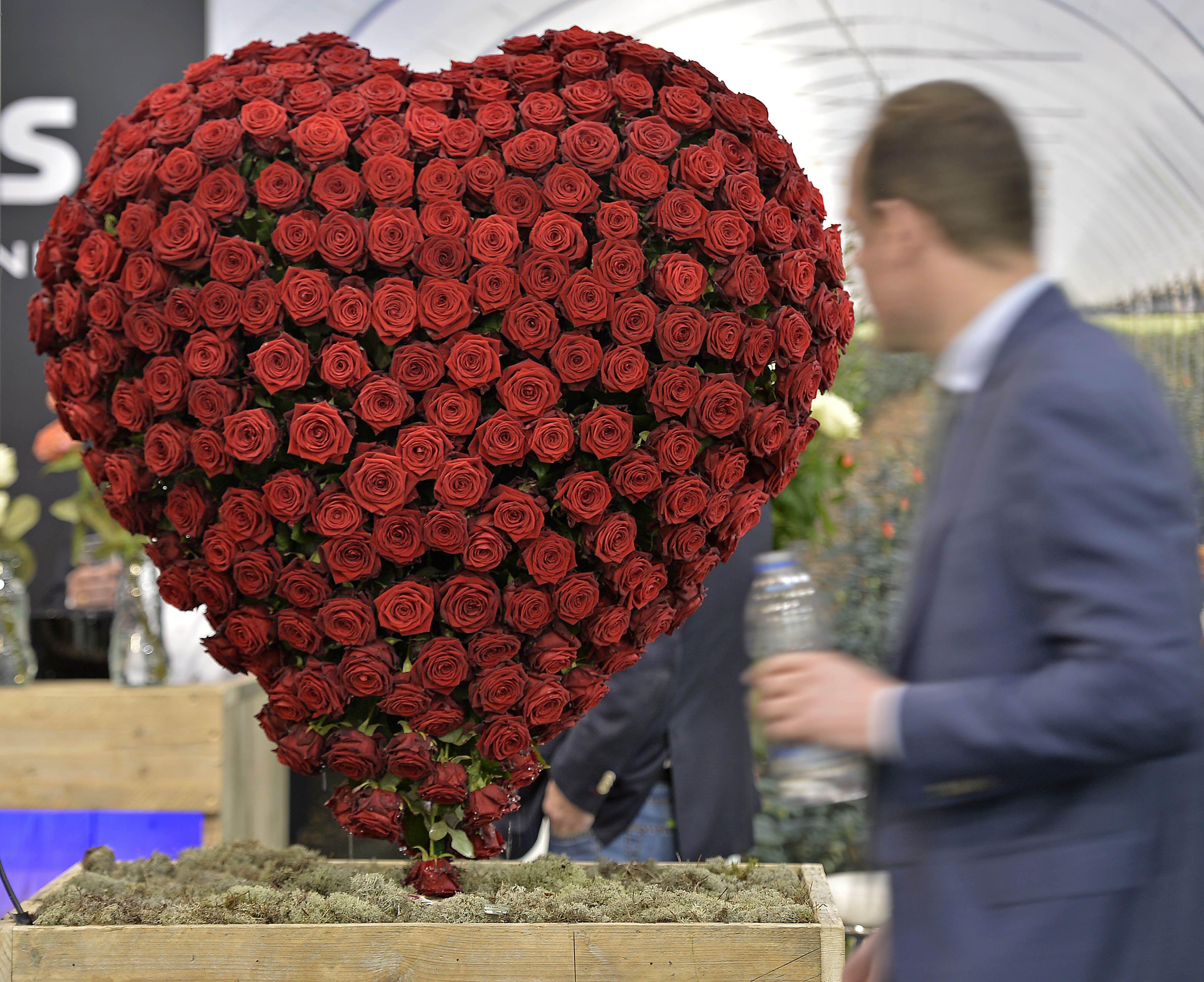 Rangkaian Bunga Mawar Yang Berbentuk Hati Dalam Pameran Dagang Di